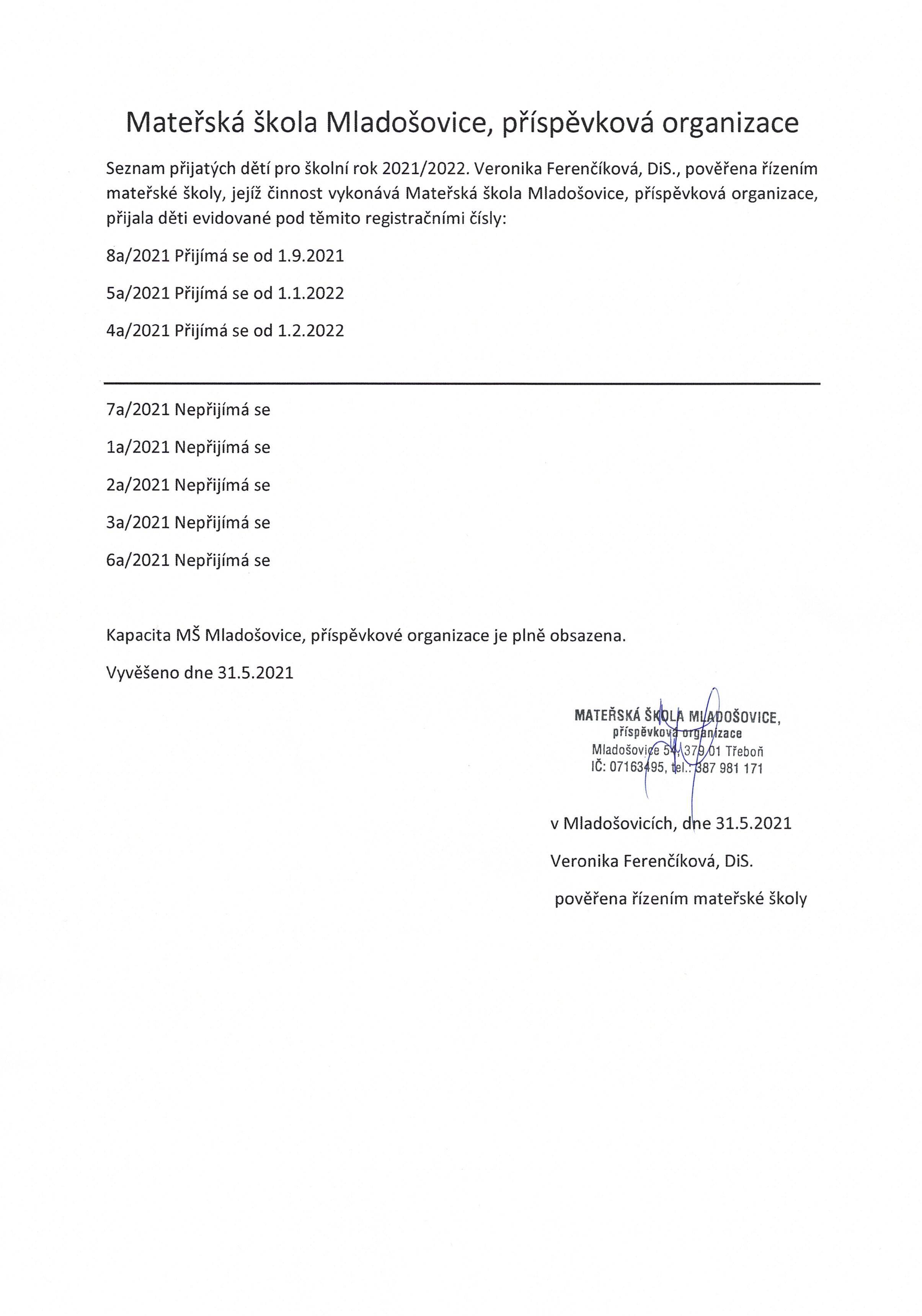Výsledky přijímacího řízení 2021/2022
